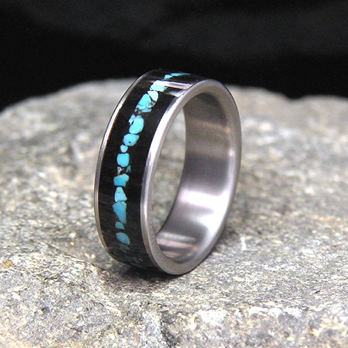 Gabon Ebony Wood Sleeping Beauty Turquoise Inlay Titanium Band or Unique Gift Ring