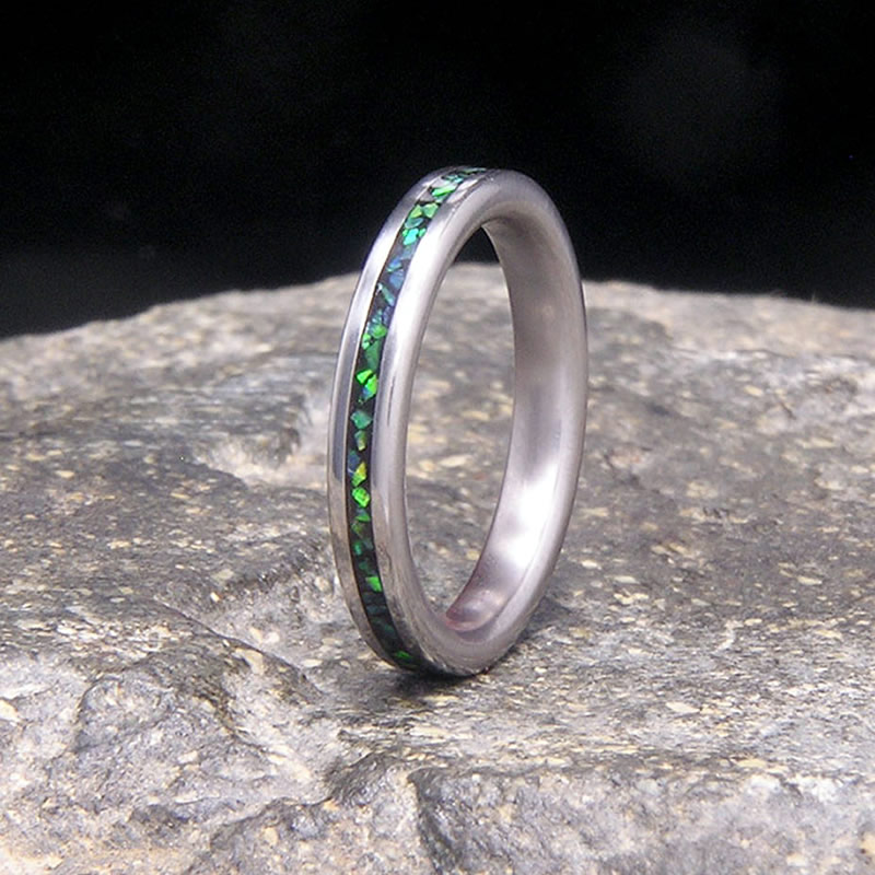Green Opal Inlay Titanium Slimline Wedding Band or Unique Gift Stacking Ring
