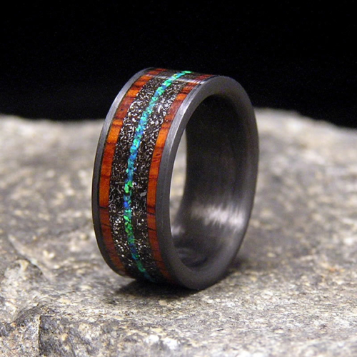 Meteorite Cocobolo Blue-Green Lab Opal Inlay Carbon Fiber Wedding Band or Unique Gift Ring