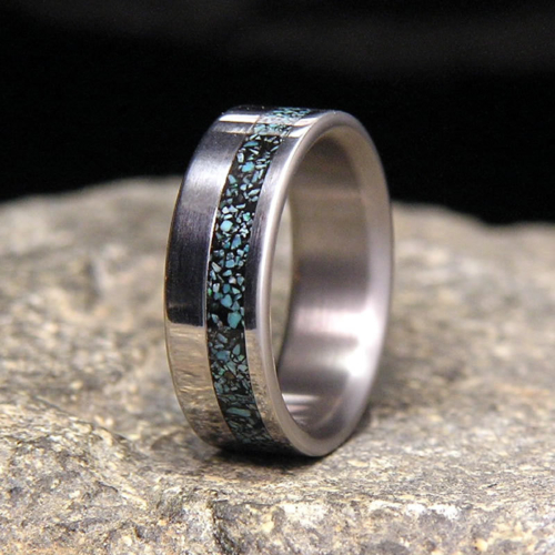 Sleeping Beauty Turquoise Offset Inlay Titanium Wedding Band or Unique Gift Ring