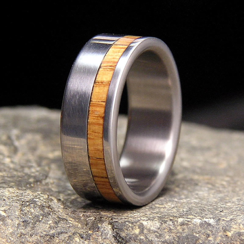 Once Used Jack Daniel Distillery Whiskey Barrel Wood Titanium Offset Inlay Wedding Band or Unique Gift Ring