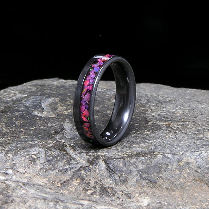 Pink Rose Lab Opal Offset Inlay Black Zirconium Wedding Band or Unique Gift Ring