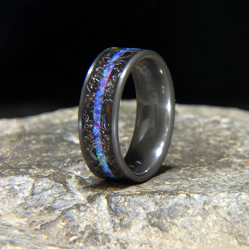 Blue Amethyst Opal & Meteorite Inlay Black Zirconium Wedding Band or Unique Gift Ring