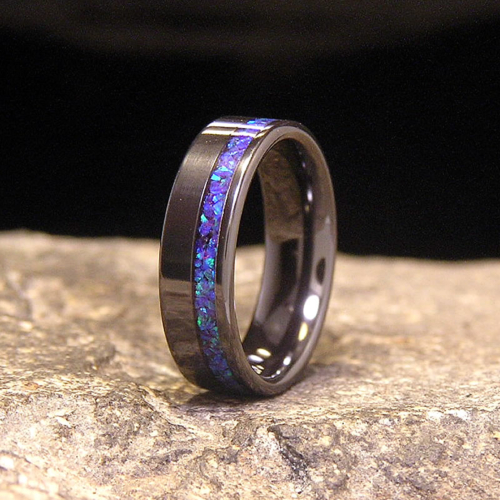 Blue Amethyst Lab Opal Offset Inlay Black Zirconium Wedding Band or Unique Gift Ring