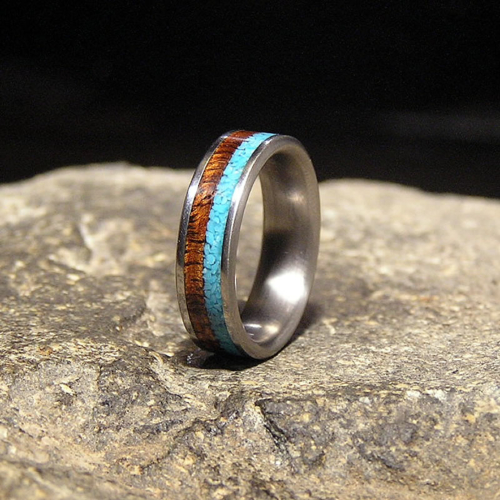 Koa Wood Sleeping Beauty Turquoise Inlay Titanium Wedding Band or Unique Gift Ring