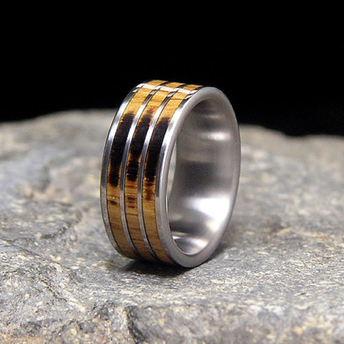 Once Used Makers Mark Distillery Whiskey Barrel Wood Titanium Wedding Band or Unique Gift Ring