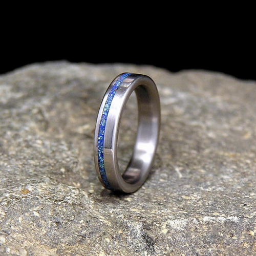 Azurite with a Hint of Malachite Offset Inlay Titanium Slimline Wedding Band or Unique Gift Ring