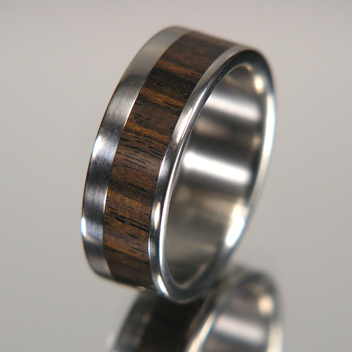 African Blackwood Offset Inlay Titanium Wood Wedding Band or Unique Gift Ring