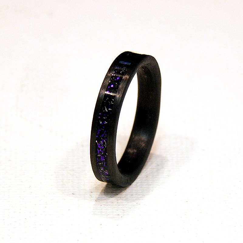 blue twilight meteorite shavings inlay carbon fiber wedding band or unique gift ring holz ring shop - Carbon Fiber Wedding Ring