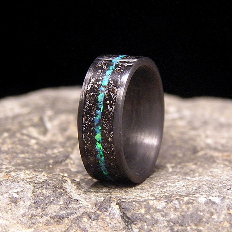 Meteorite Shavings With Blue Green Lab Opal Inlay Carbon