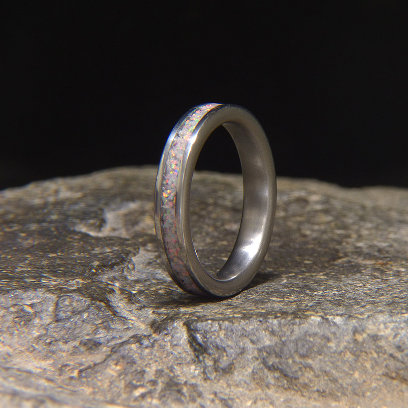 Opal Wedding Band.Sun Ice Opal Titanium Wedding Band Or Unique Gift Ring